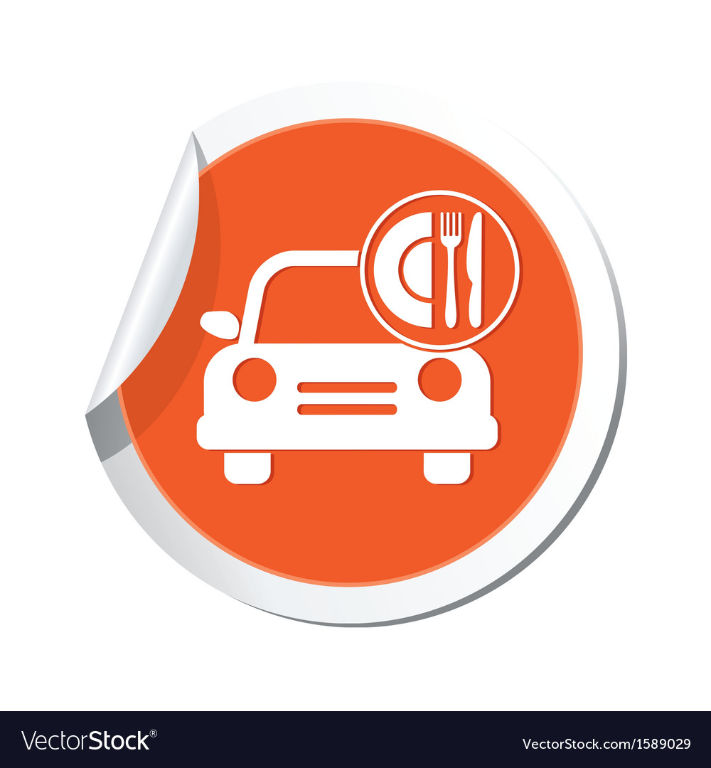 Car with meal icon orange label vector | Price: 1 Credit (USD $1)