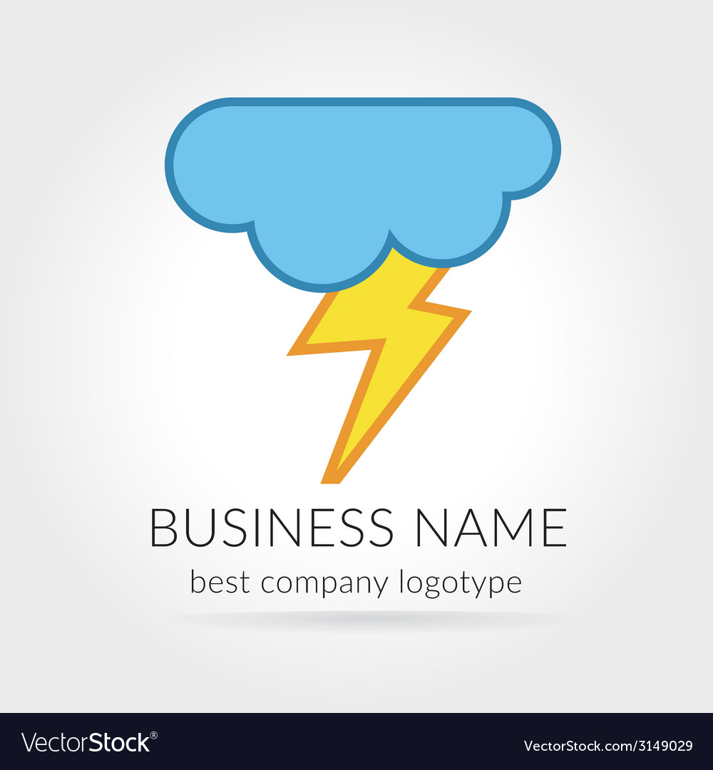 Colored lightning logo logotype with cloud for vector | Price: 1 Credit (USD $1)