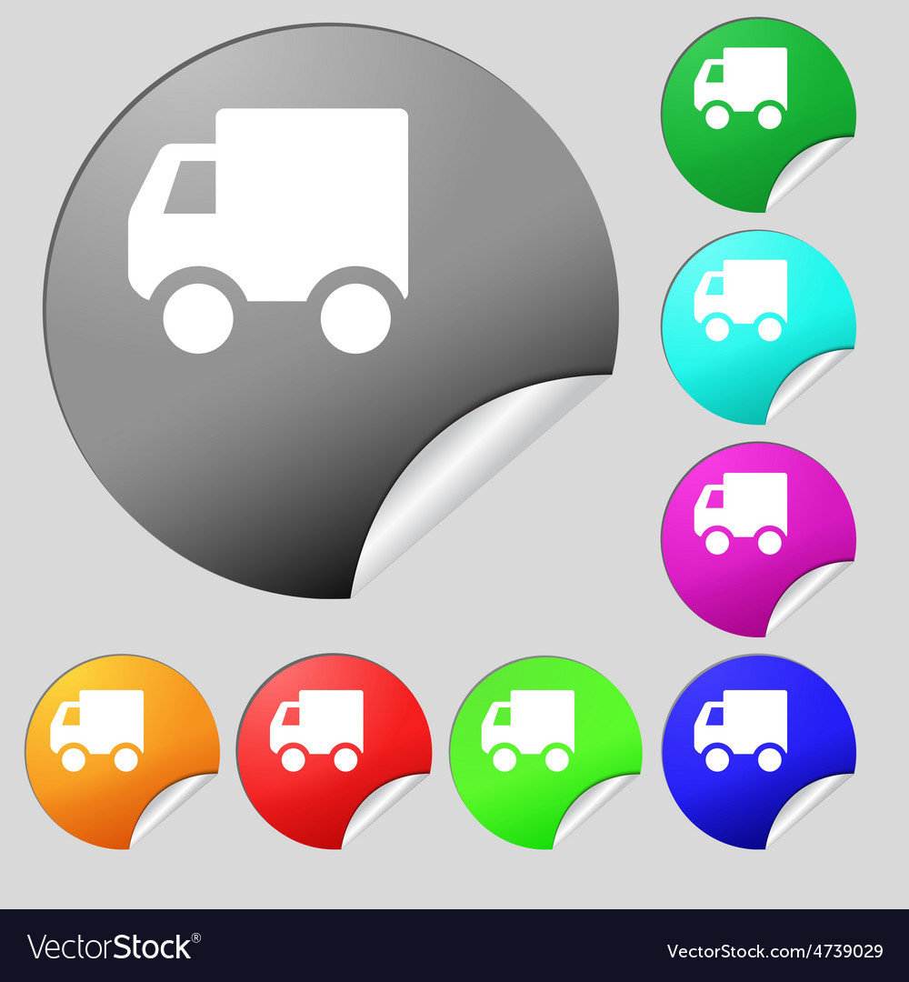 Delivery truck icon sign set of eight vector | Price: 1 Credit (USD $1)
