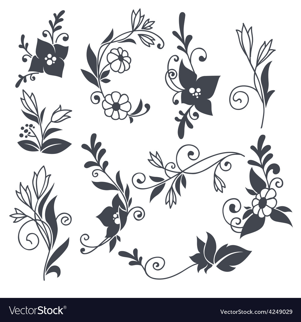 Doodle flowers vector | Price: 1 Credit (USD $1)