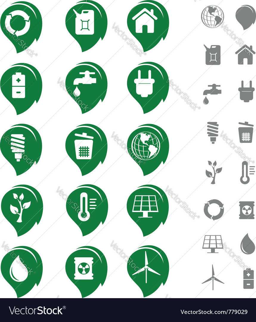 Ecology and environment icon set vector | Price: 1 Credit (USD $1)