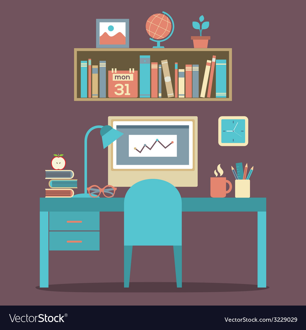 Flat design workplace vector | Price: 1 Credit (USD $1)