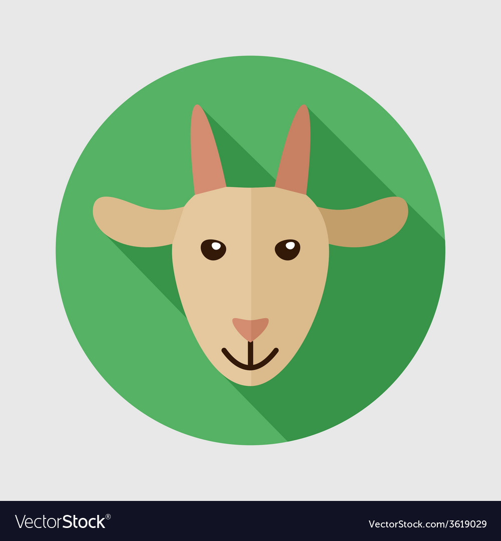 Goat flat icon with long shadow vector | Price: 1 Credit (USD $1)