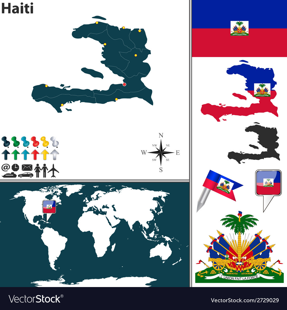 Haiti map world vector | Price: 1 Credit (USD $1)