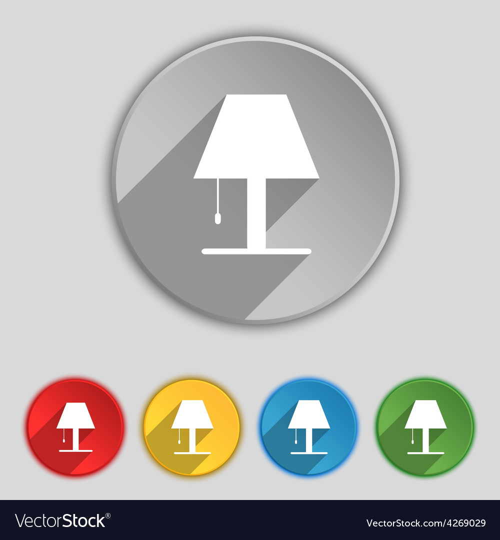 Lamp icon sign symbol on five flat buttons vector | Price: 1 Credit (USD $1)