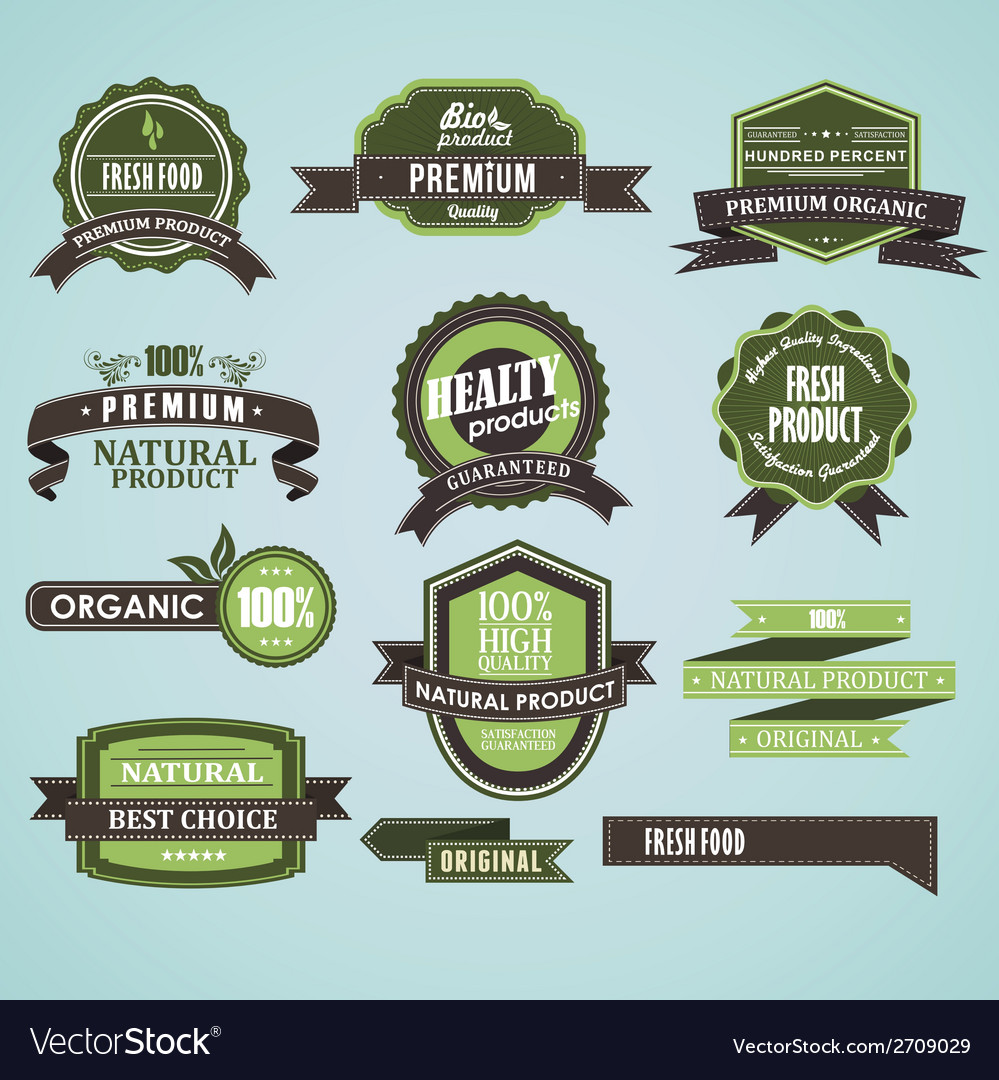 Natural organic label vector | Price: 1 Credit (USD $1)