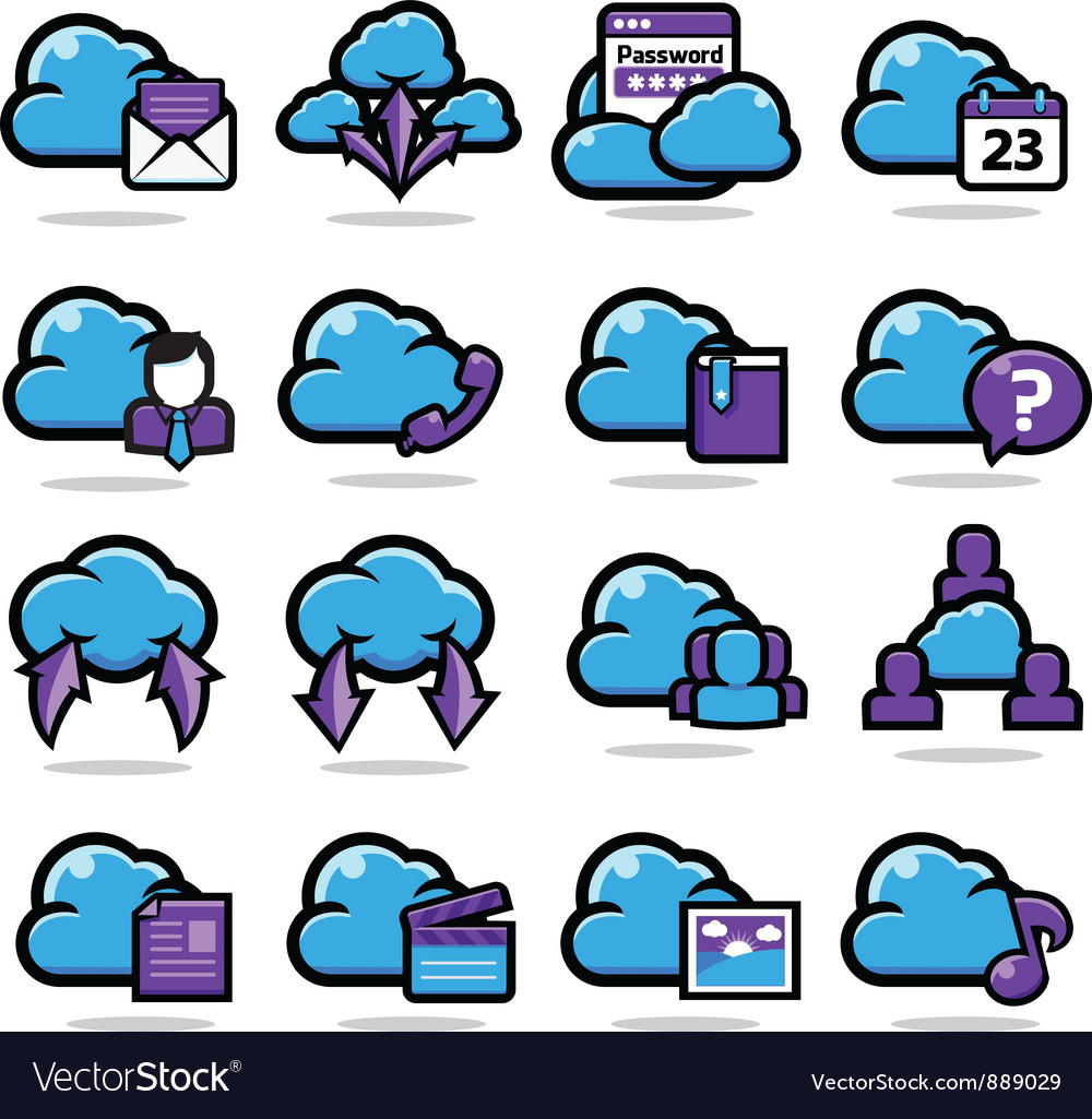 Network communication icon set vector | Price: 1 Credit (USD $1)