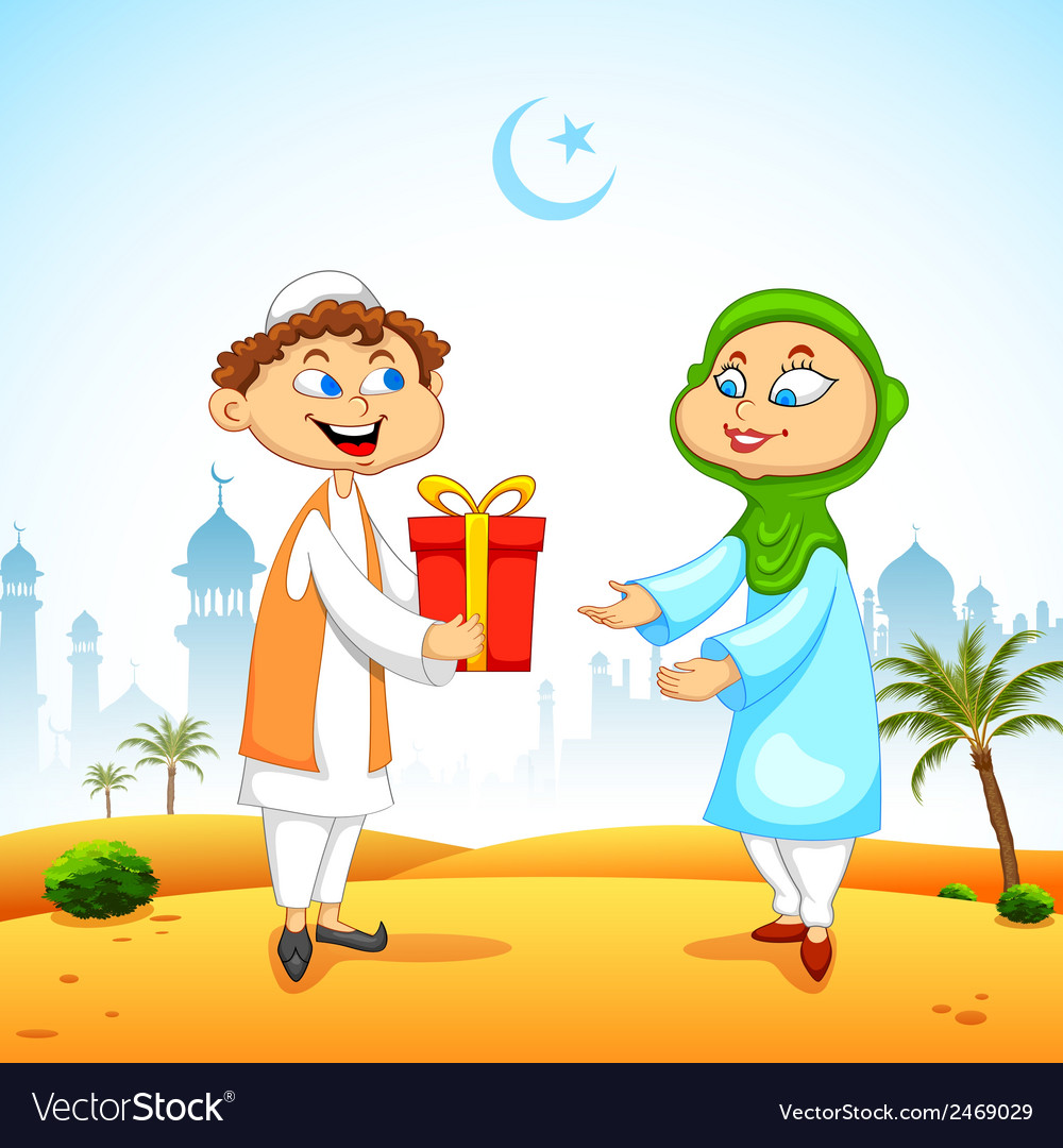 People presenting gift to celebrate eid vector | Price: 1 Credit (USD $1)