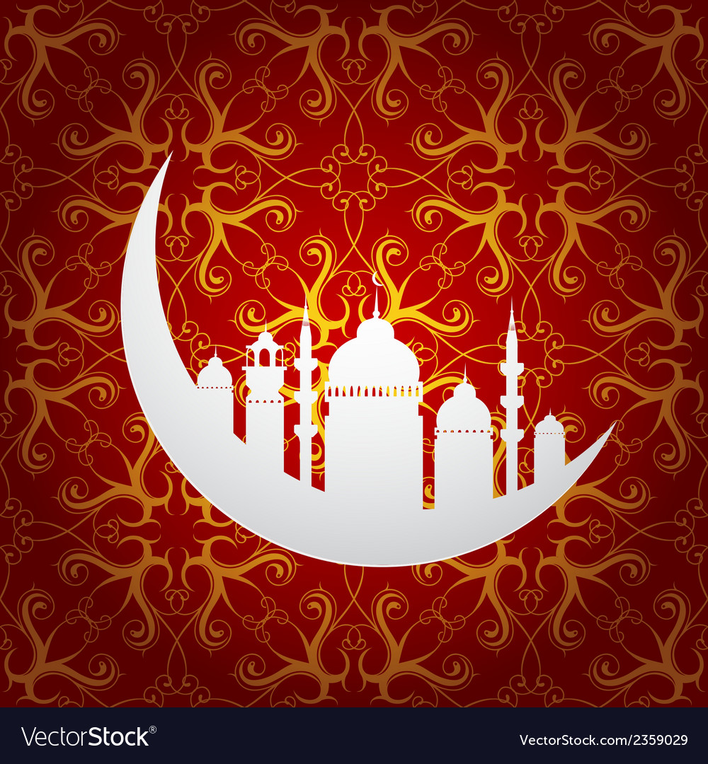 Ramadan holy month symbol with moon and mosque vector | Price: 1 Credit (USD $1)