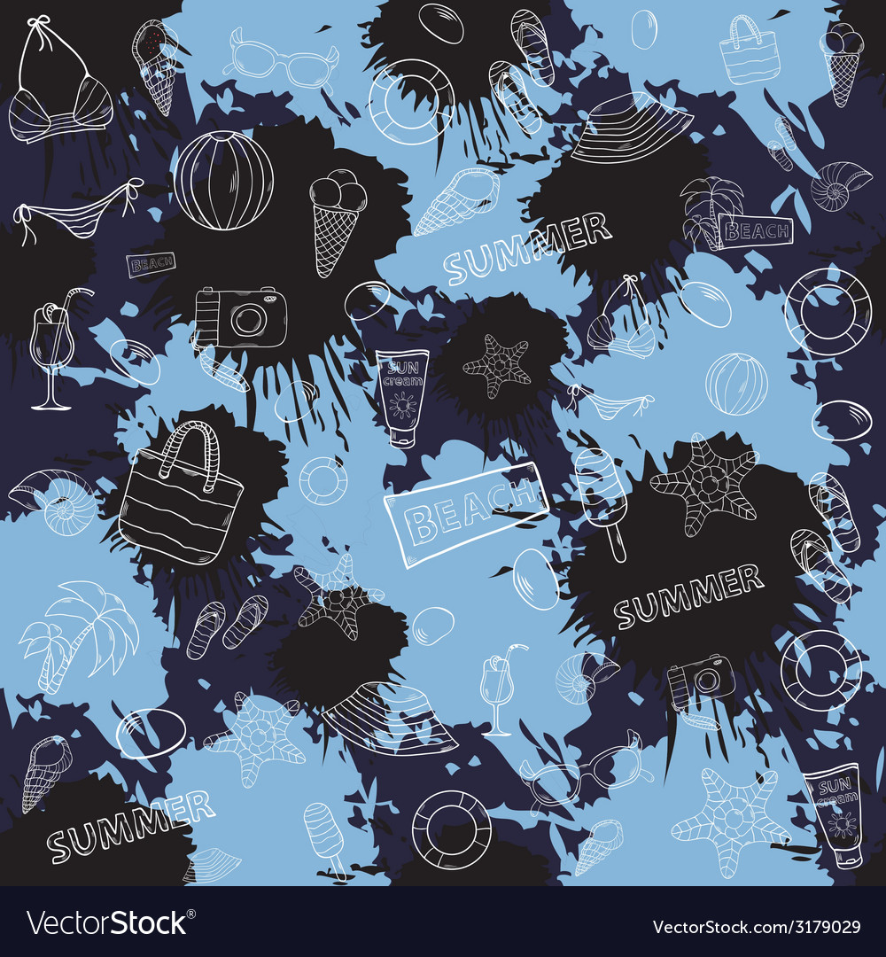 Seamless summer pattern with colored inks vector | Price: 1 Credit (USD $1)