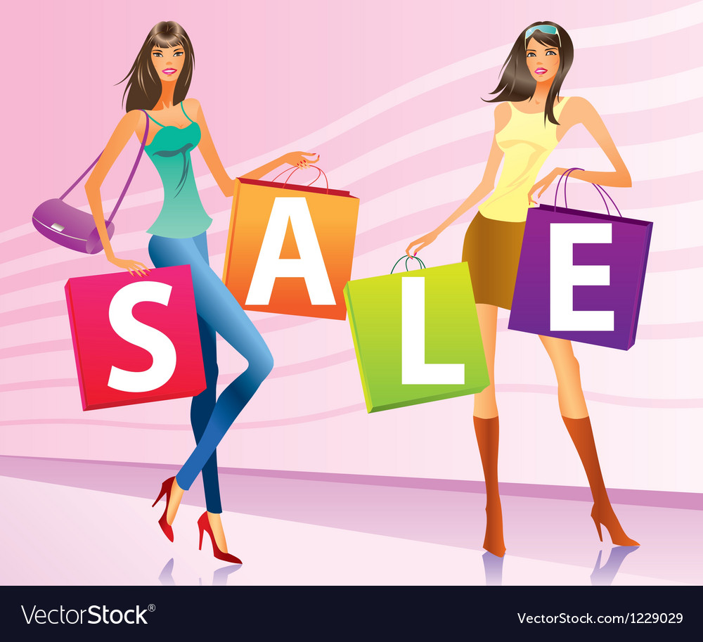 Shopping girls with sale campaign bags vector | Price: 1 Credit (USD $1)