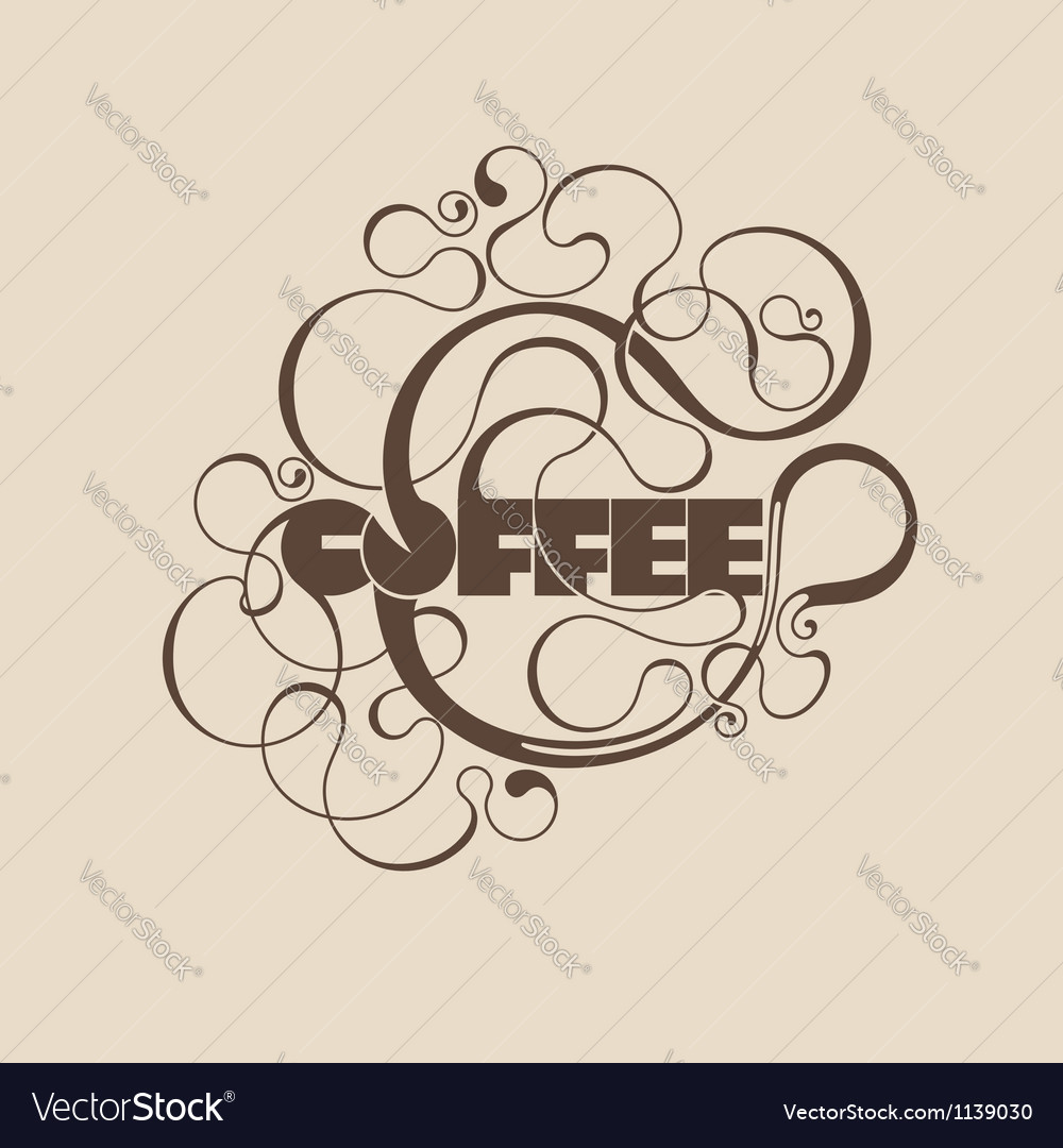 Abstract curly coffee label vector | Price: 1 Credit (USD $1)