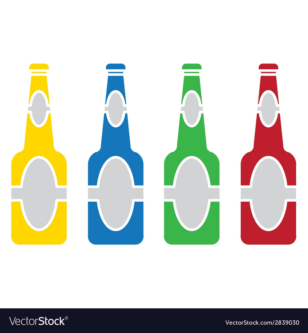 Beer bottle colored set vector | Price: 1 Credit (USD $1)