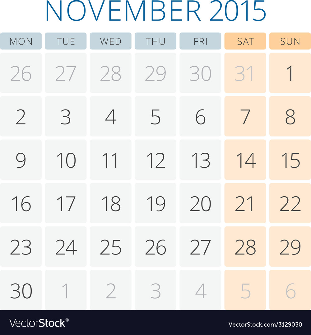 Calendar 2015 november design template vector | Price: 1 Credit (USD $1)