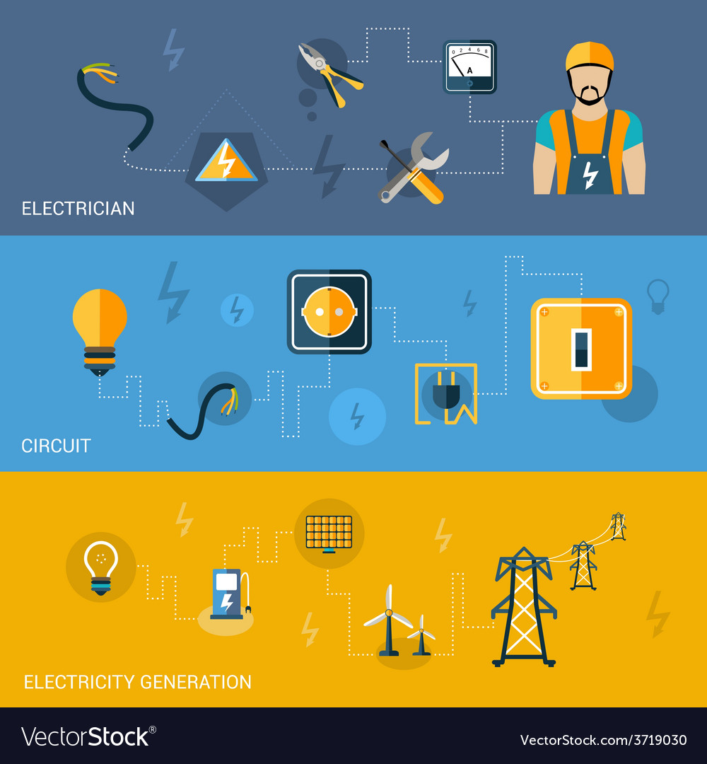 Electricity banners set vector | Price: 1 Credit (USD $1)