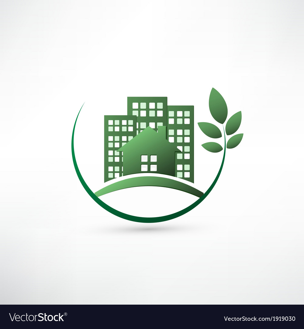 Green environmentally friendly real estate vector | Price: 1 Credit (USD $1)