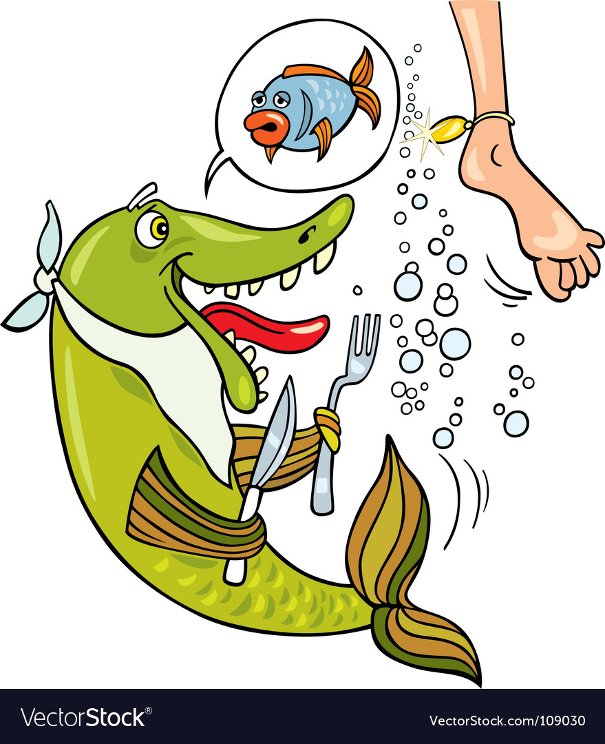 Hungry fish cartoon vector | Price: 1 Credit (USD $1)