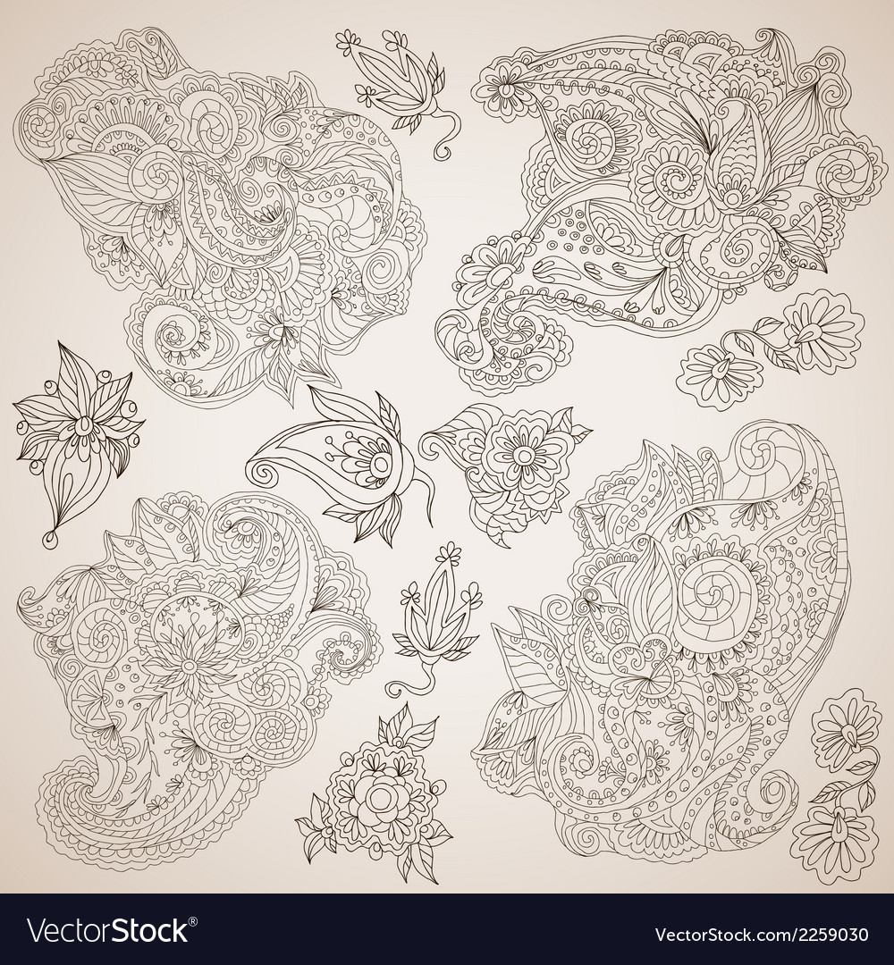 Ornamental decorative elements set vector | Price: 1 Credit (USD $1)