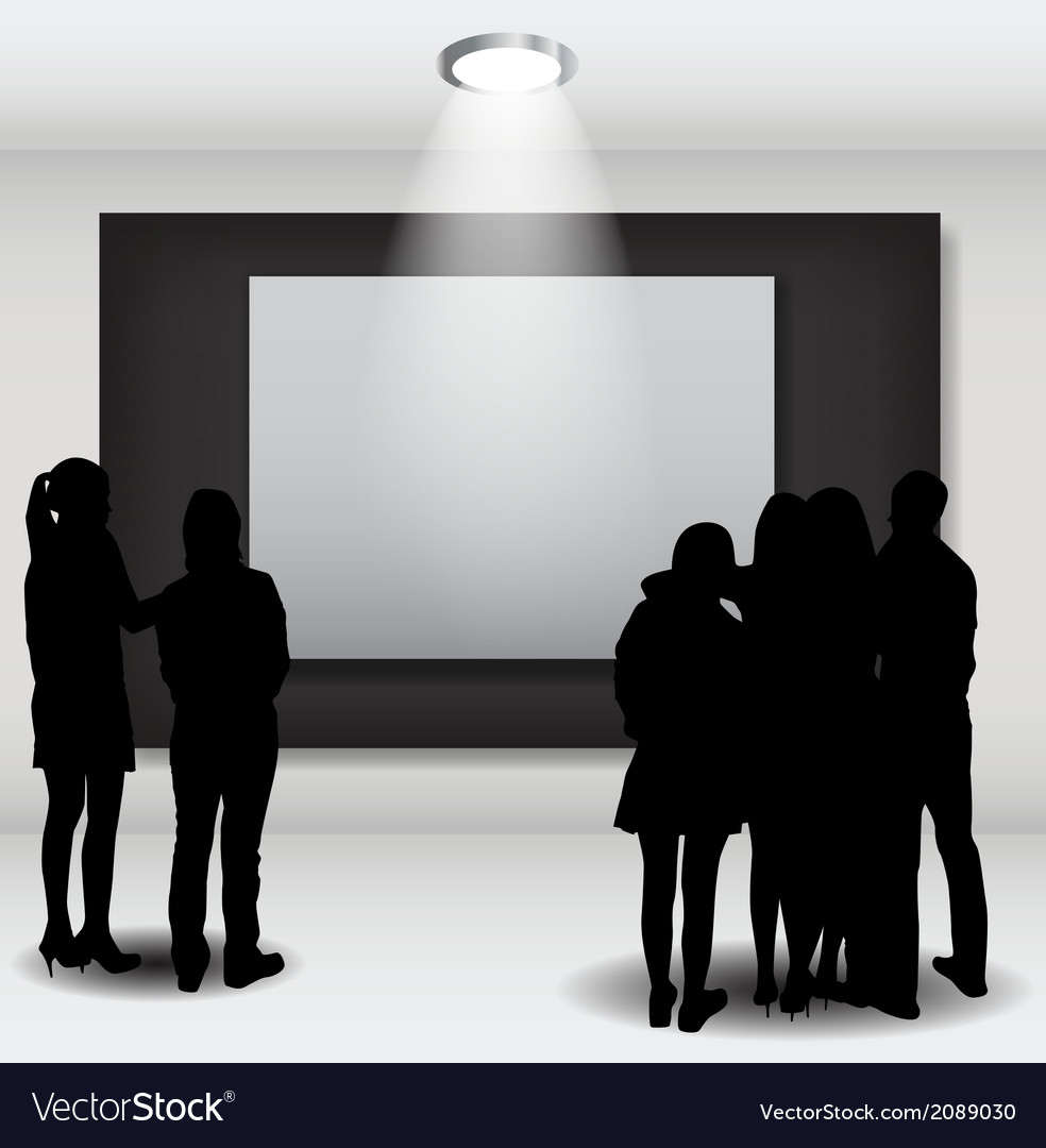 Peoples silhouettes looking on the empty frame in vector | Price: 1 Credit (USD $1)