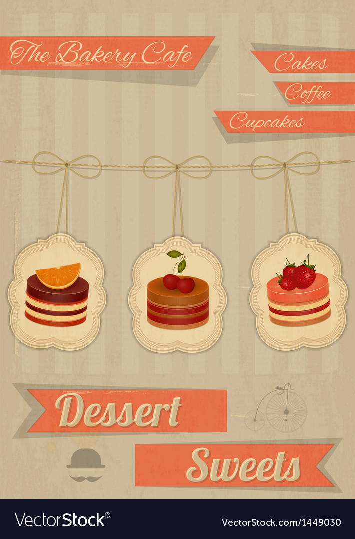 Retro menu for the cafe pastry shop vector | Price: 1 Credit (USD $1)