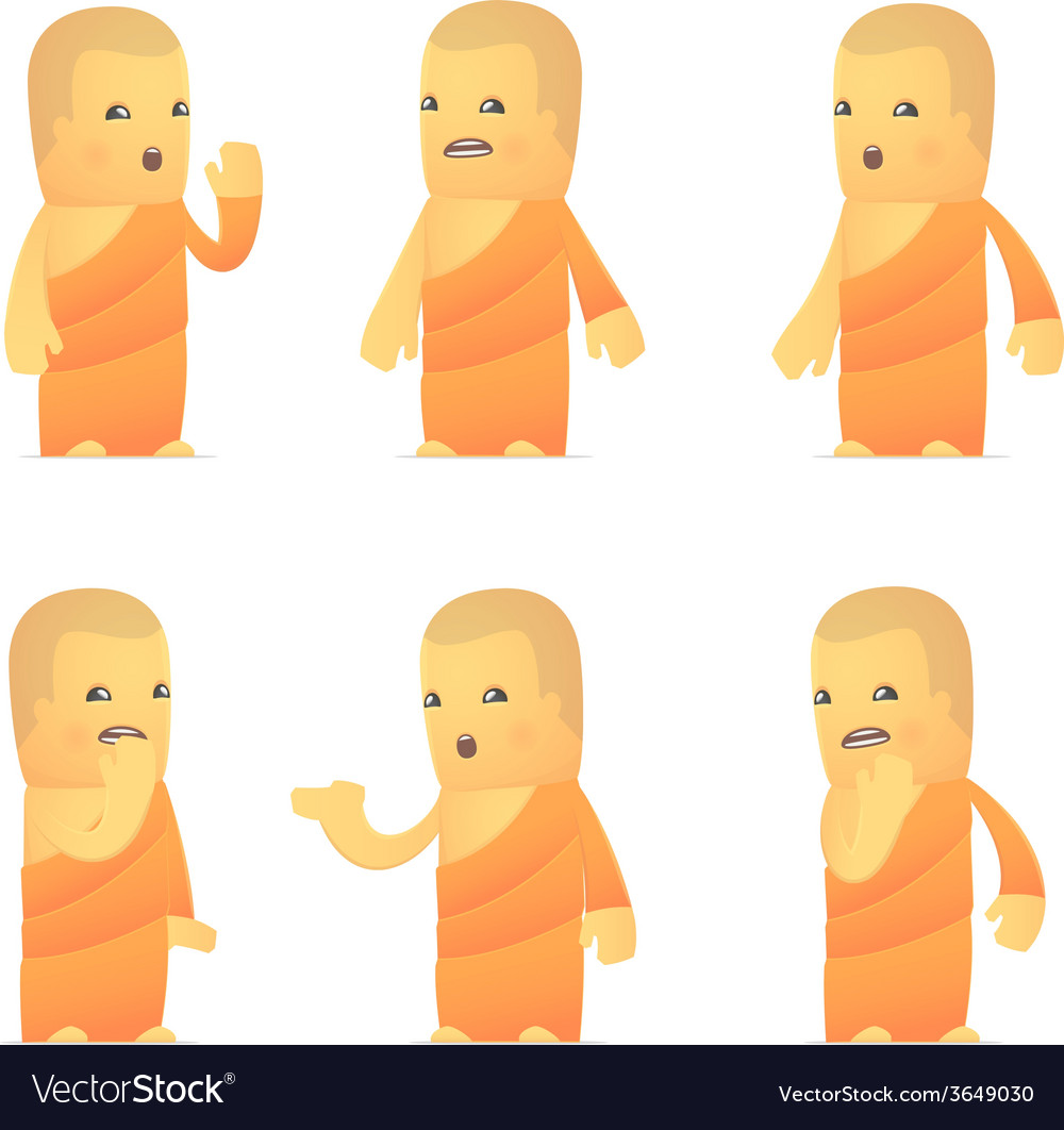 Set of monk character in different poses vector | Price: 3 Credit (USD $3)