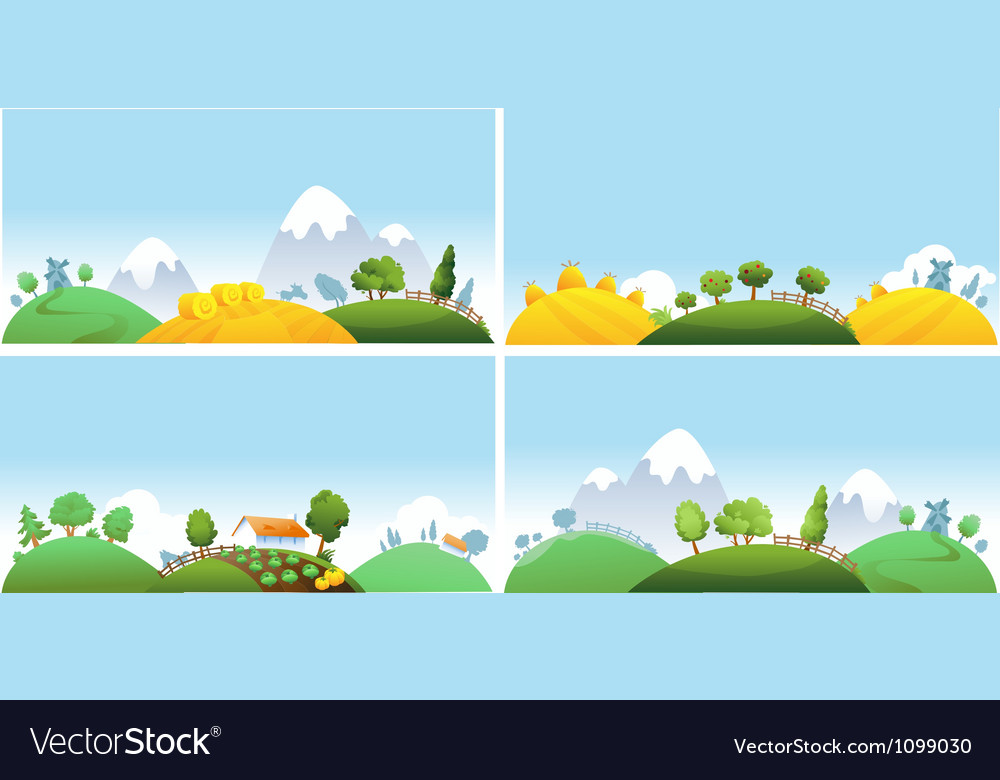 Set of summer landscape vector | Price: 1 Credit (USD $1)