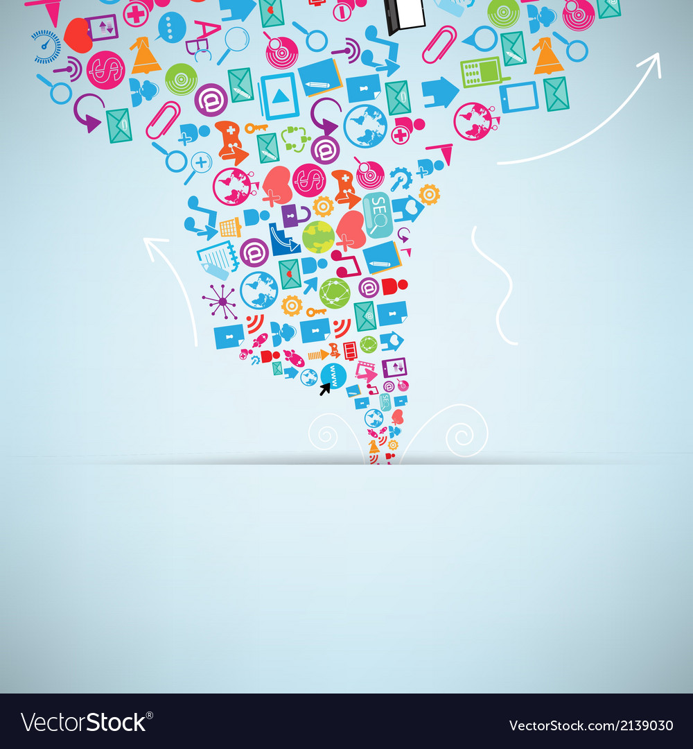 Social network background with media icons vector | Price: 1 Credit (USD $1)