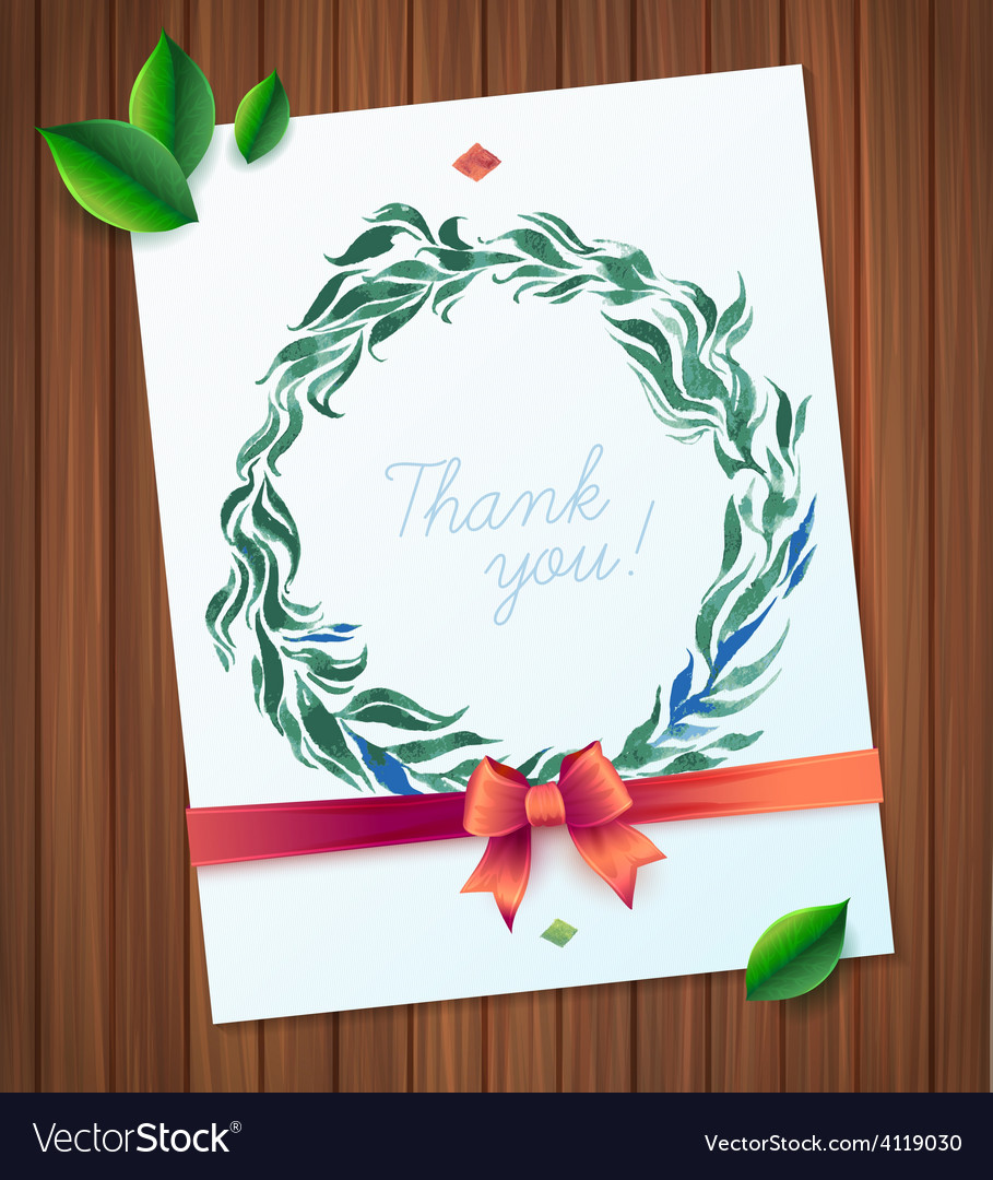 Thank you watercolor floral wreath vector | Price: 1 Credit (USD $1)