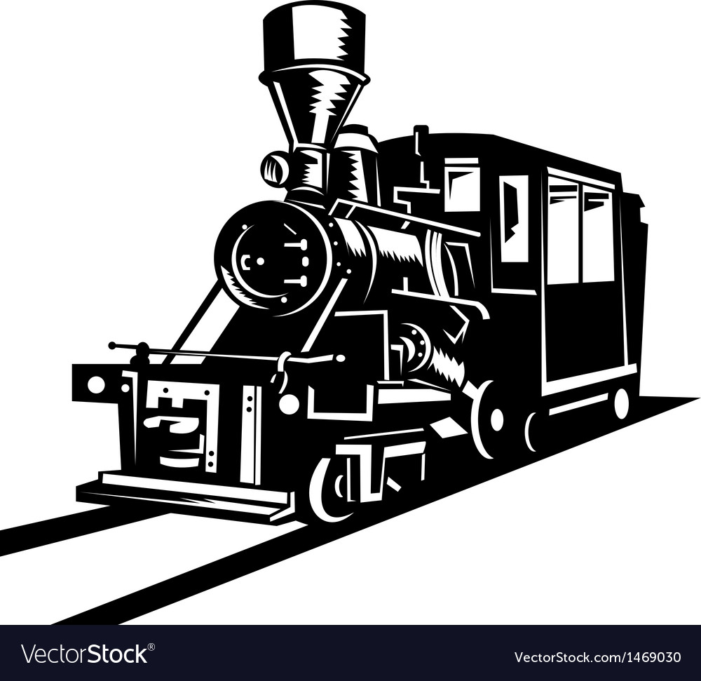 Vintage steam train locomotive vector | Price: 1 Credit (USD $1)