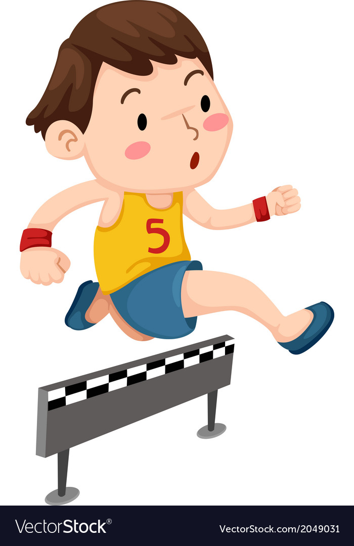 A boy jumping hurdle isolated on w vector   Price: 1 Credit (USD $1)