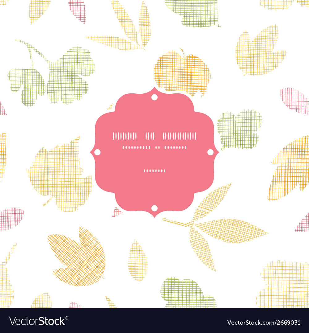 Abstract textile texture fall leaves frame vector | Price: 1 Credit (USD $1)