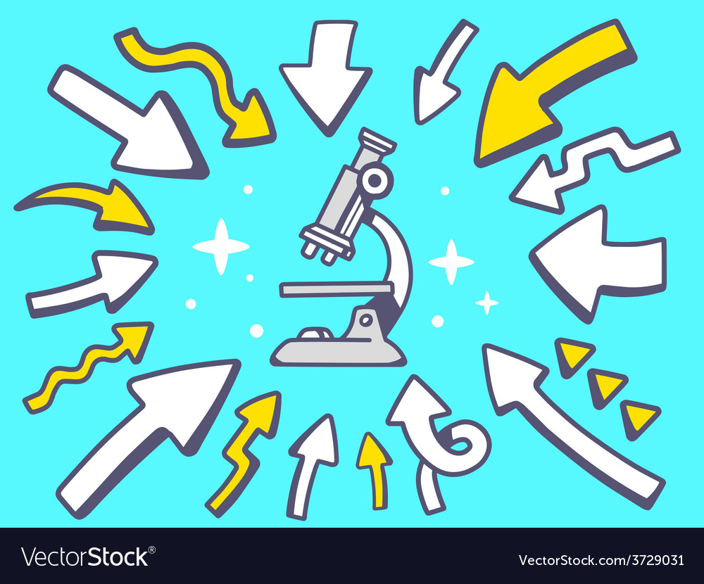 Arrows point to icon of microscope on bl vector | Price: 1 Credit (USD $1)