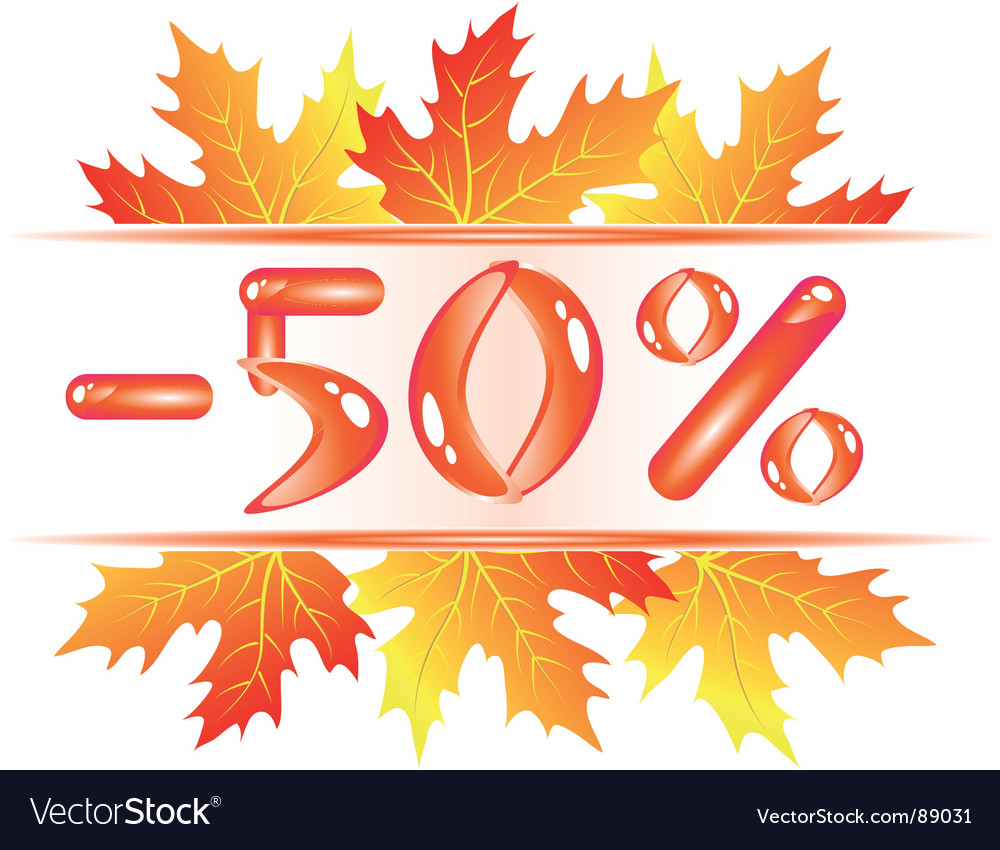 Autumn sale 50 percent discount vector | Price: 1 Credit (USD $1)