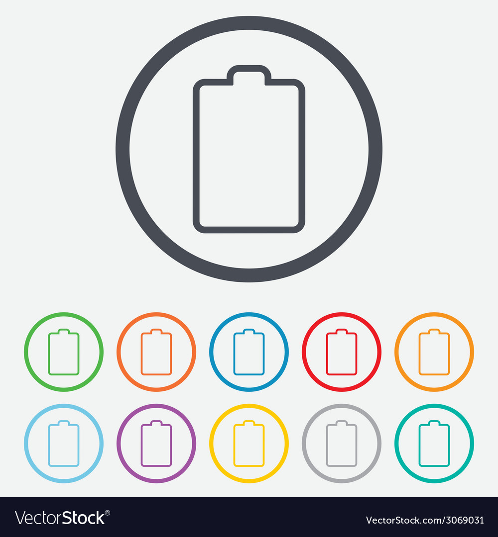 Battery empty sign icon low electricity symbol vector | Price: 1 Credit (USD $1)