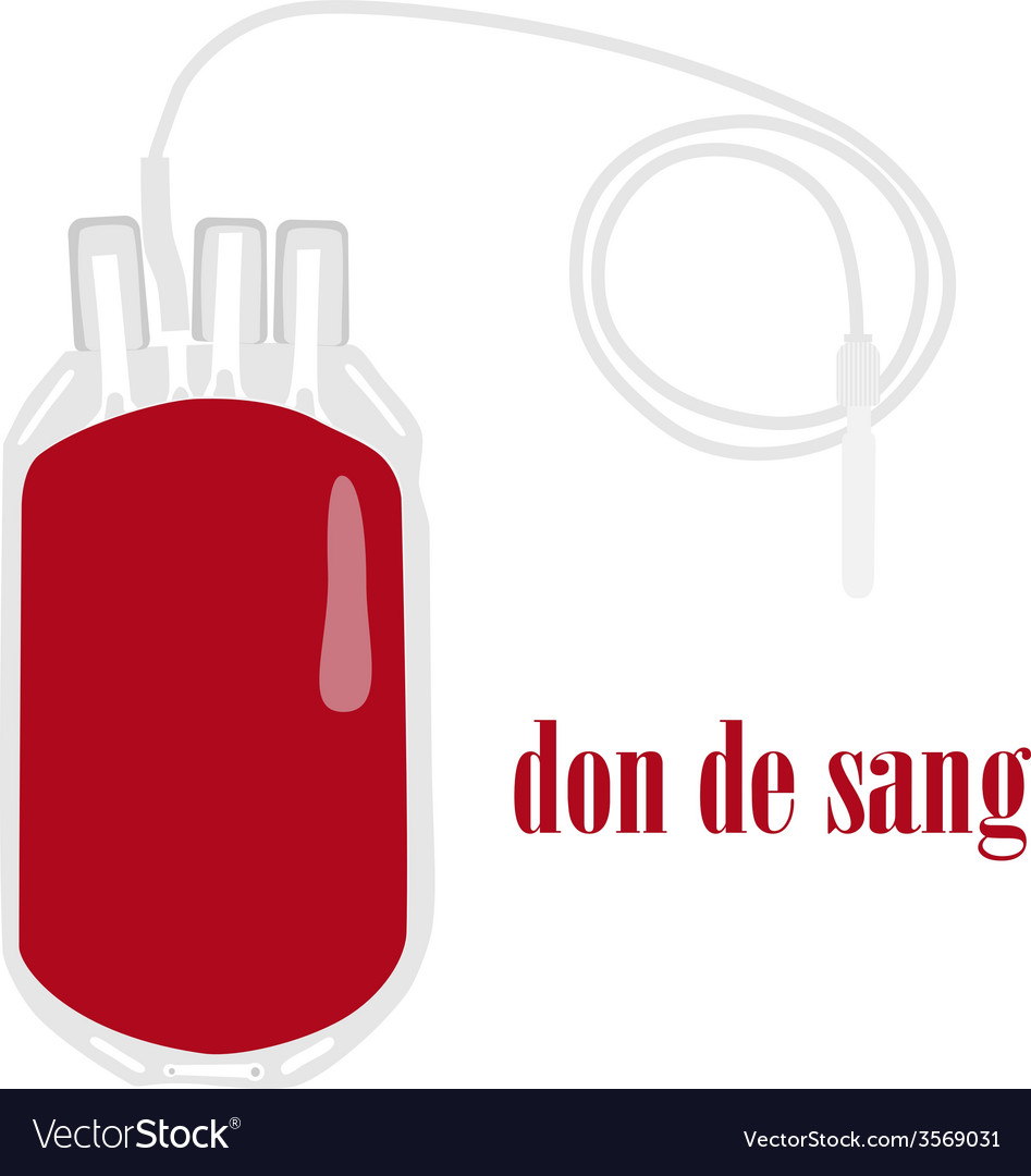 Blood bag on white background with text blood vector | Price: 1 Credit (USD $1)