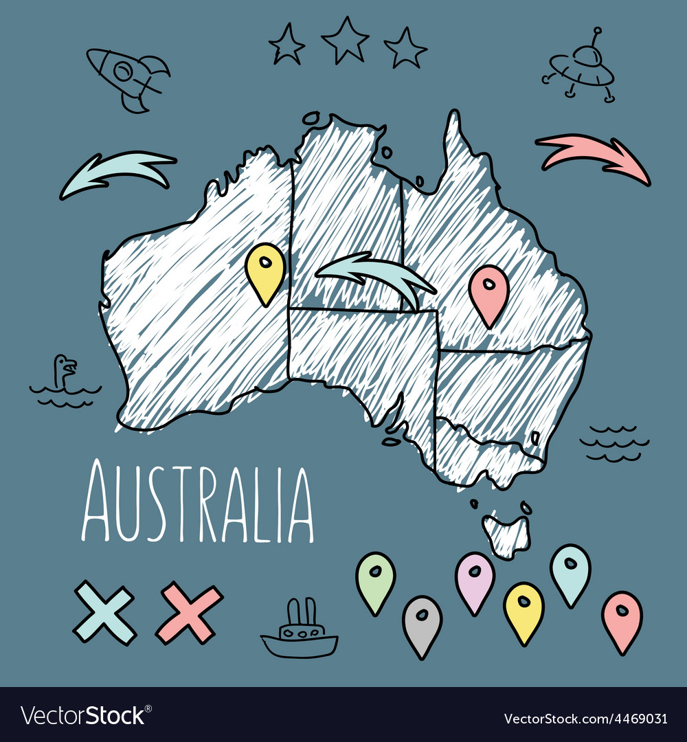 Doodle australia map on blue chalkboard with pins vector | Price: 1 Credit (USD $1)