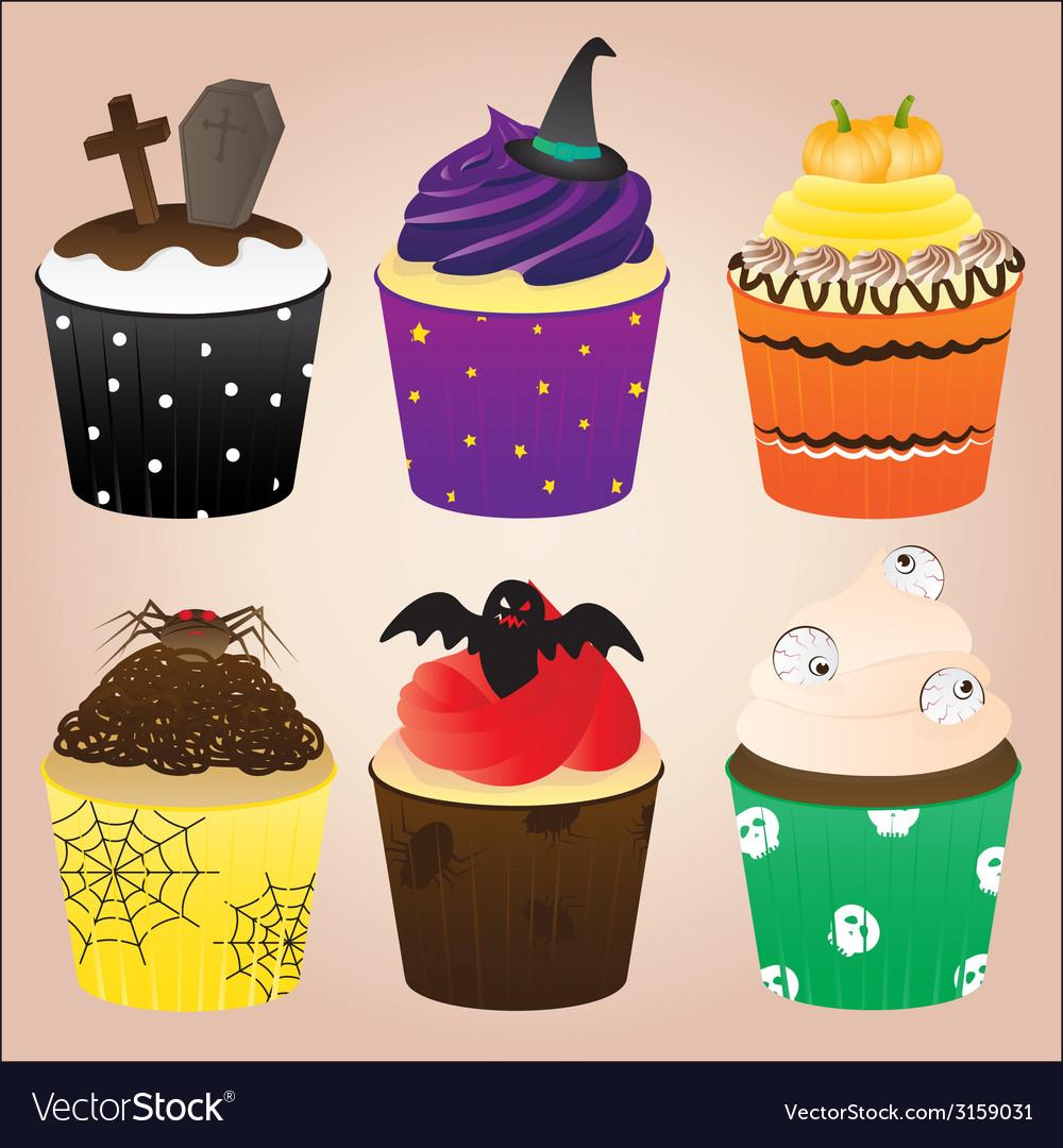 Halloween cupcakes set vector | Price: 1 Credit (USD $1)