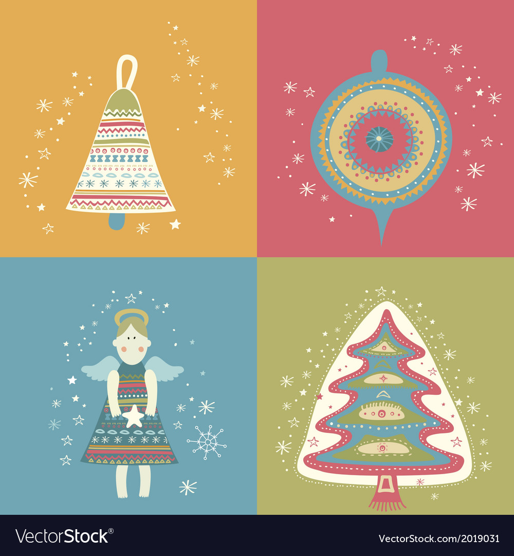 Happy new year christmas eve set vector | Price: 1 Credit (USD $1)