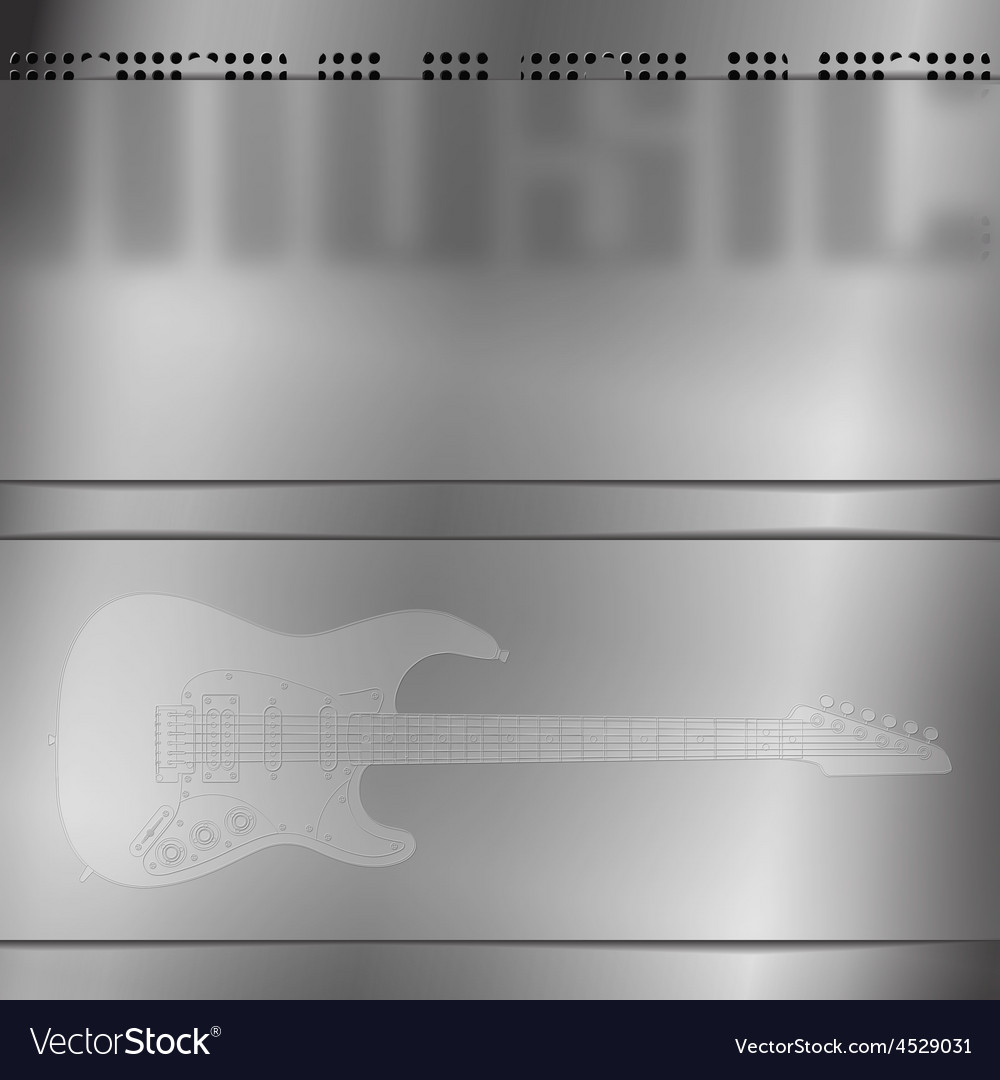 Musical background with engraved guitar vector | Price: 1 Credit (USD $1)