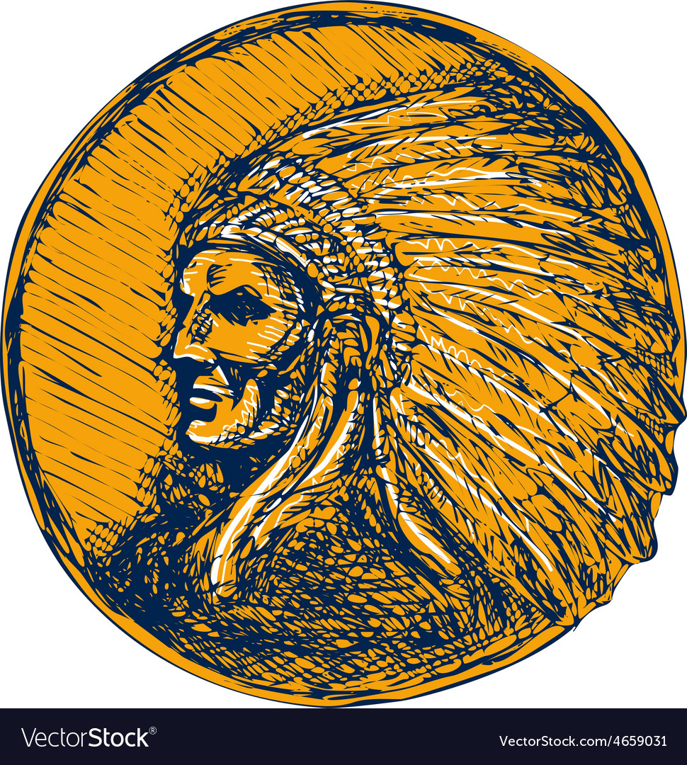 Native american indian chief headdress drawing vector | Price: 1 Credit (USD $1)