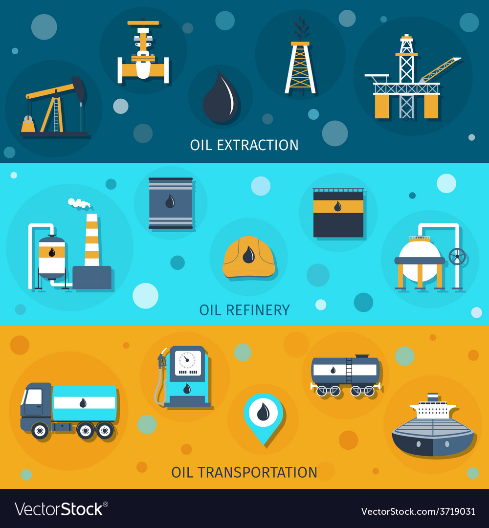 Oil industry flat banners vector | Price: 1 Credit (USD $1)