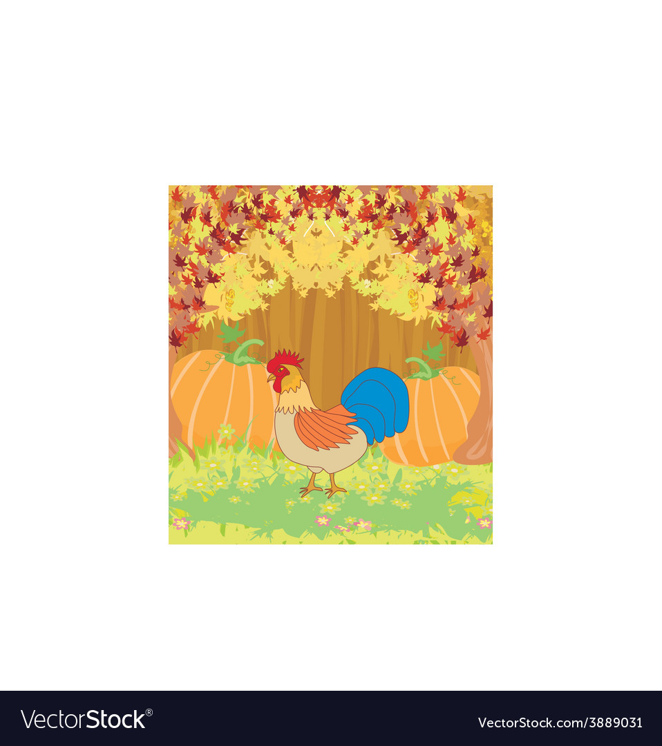 Rooster on wooden background with leaves vector | Price: 1 Credit (USD $1)