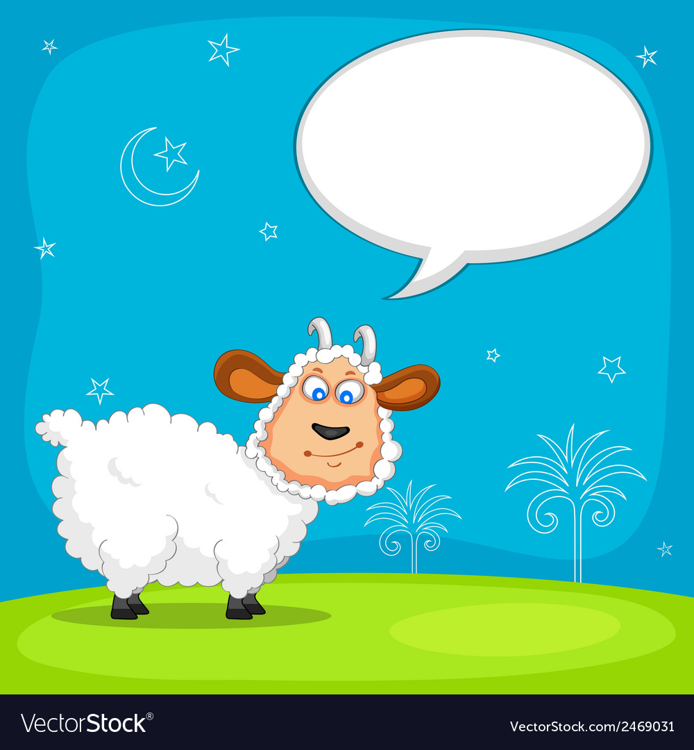 Sheep wishing eid mubarak vector | Price: 1 Credit (USD $1)