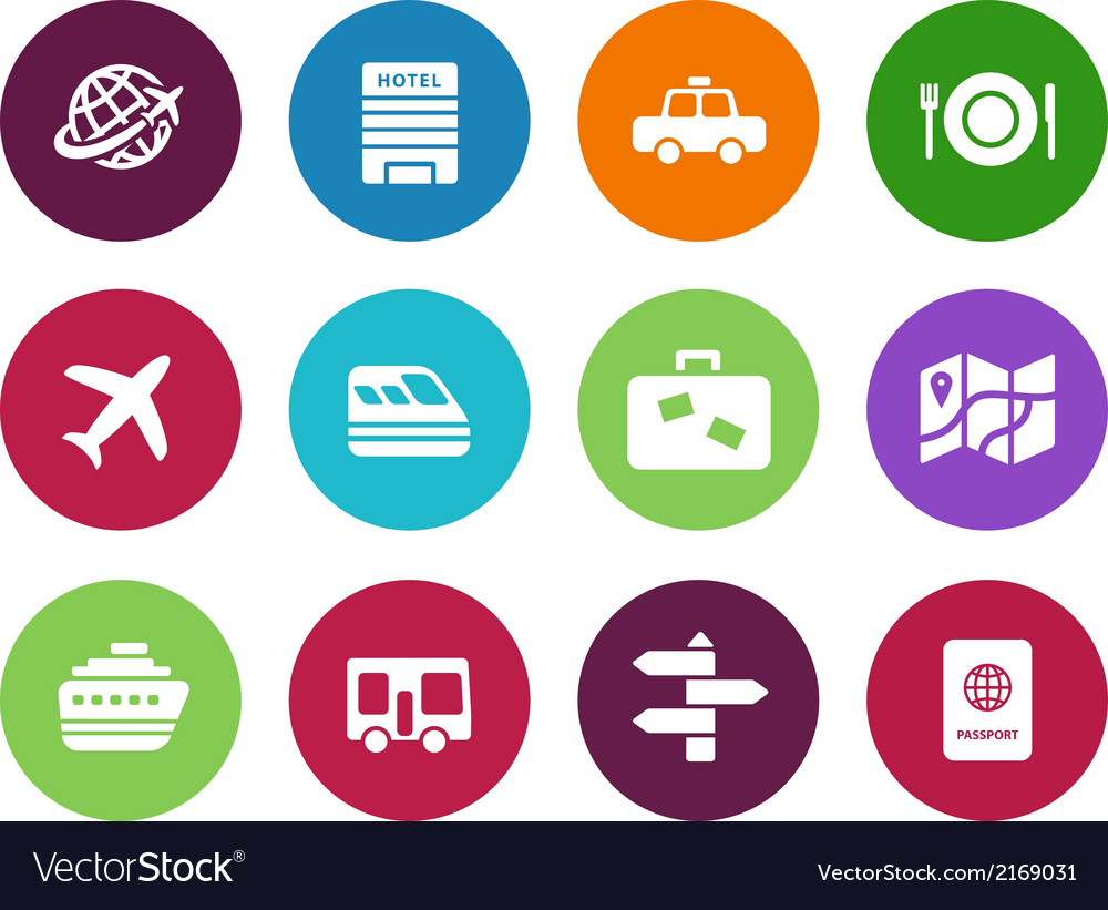 Travel circle icons on white background vector | Price: 1 Credit (USD $1)