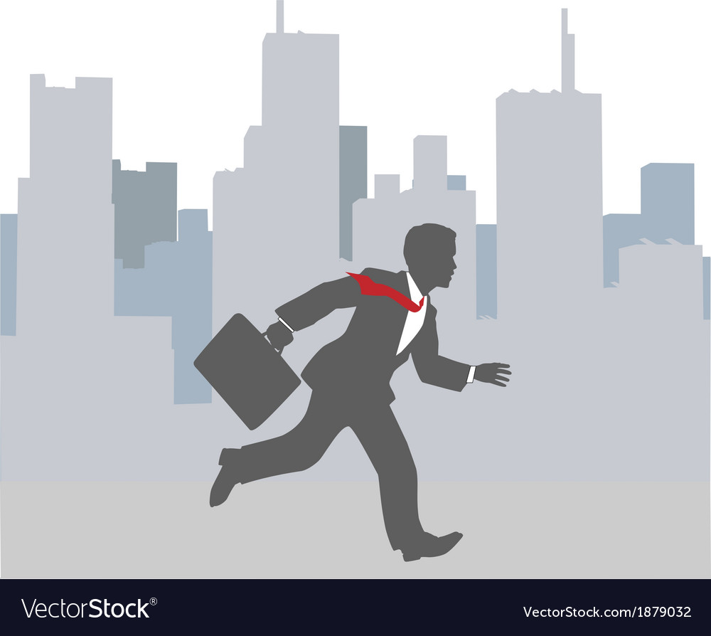 Busy business person hurry city rush vector | Price: 1 Credit (USD $1)