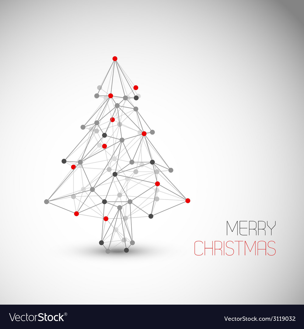 Card with abstract christmas tree made from lines vector | Price: 1 Credit (USD $1)