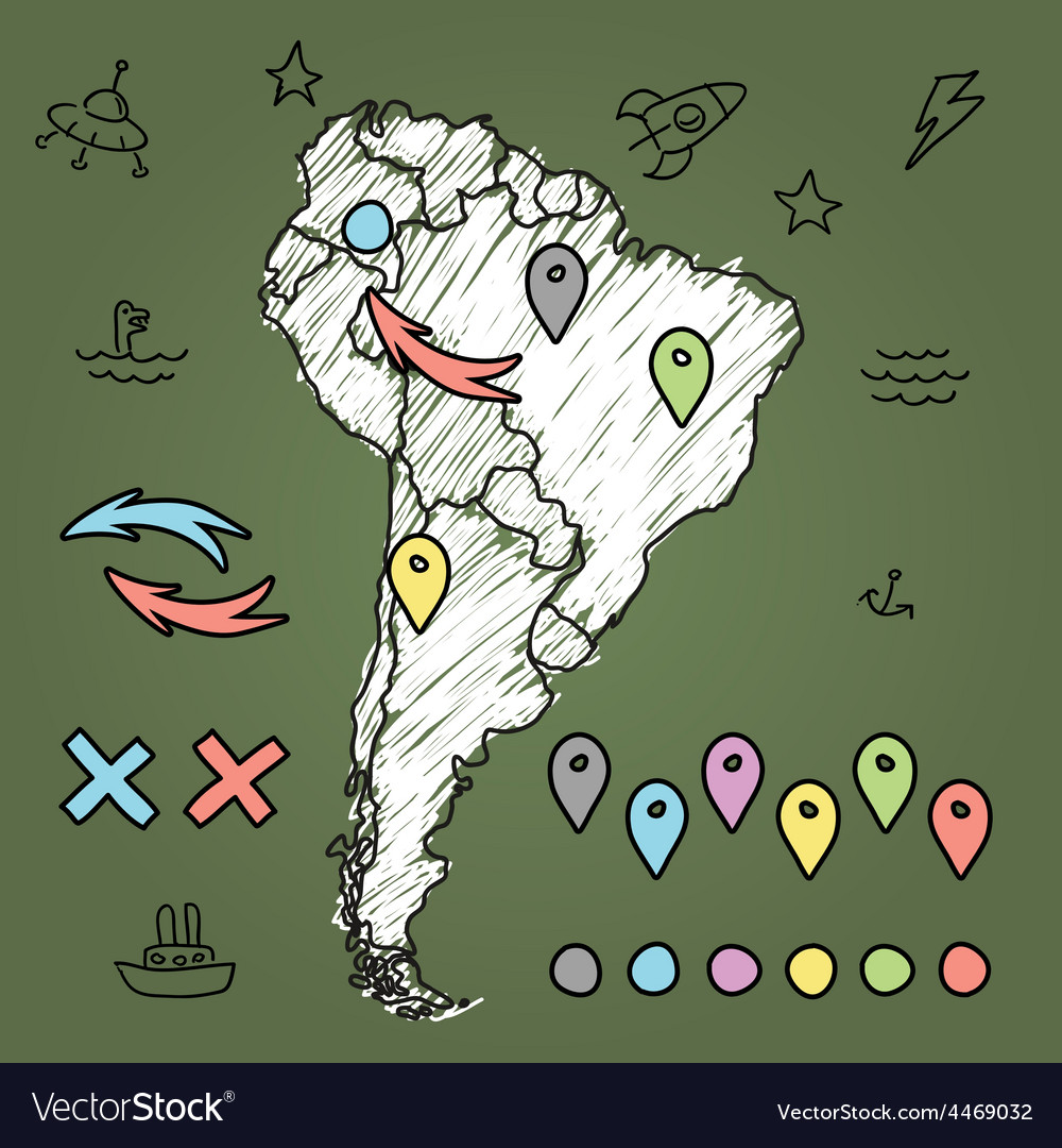 Doodle south america map on green chalkboard with vector | Price: 1 Credit (USD $1)