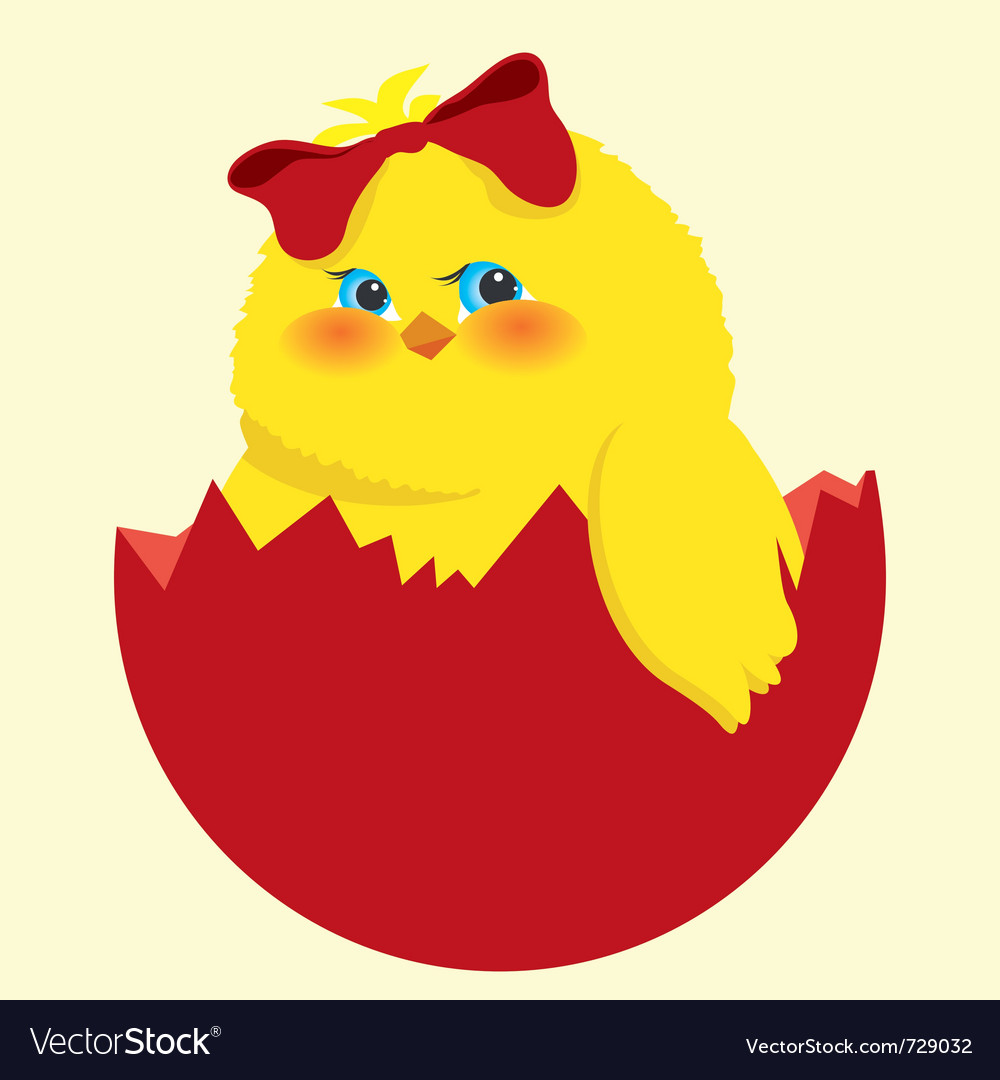 Easter egg and chick vector   Price: 1 Credit (USD $1)