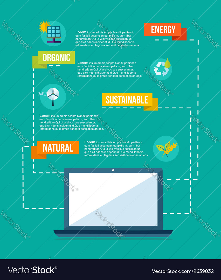 Ecology and internet flat design info graphics vector | Price: 1 Credit (USD $1)