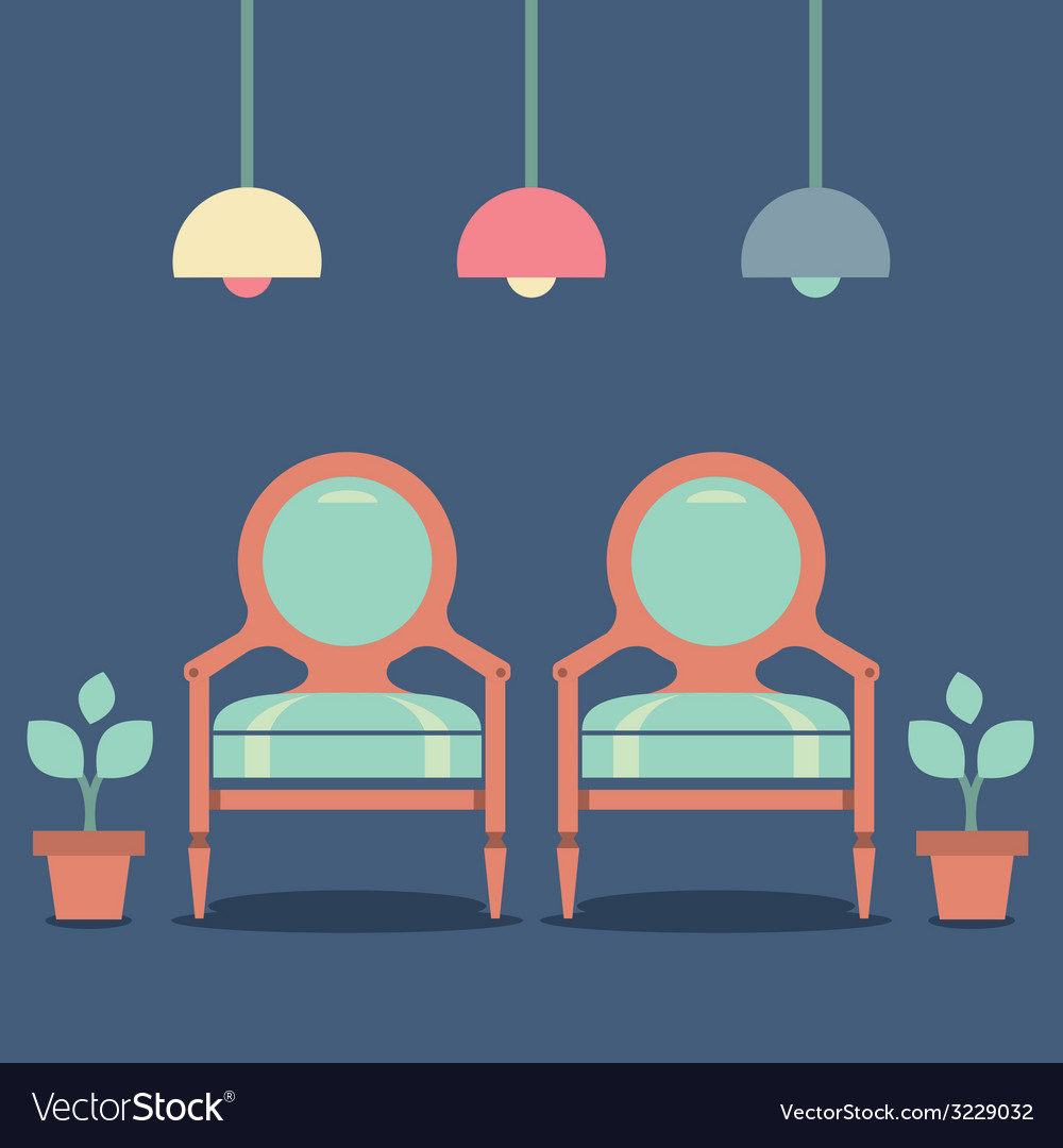 Flat design interior vintage chairs vector | Price: 1 Credit (USD $1)